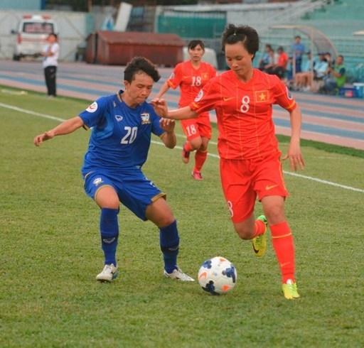 Đội tuyển nữ Việt Nam đã thất bại 1-2 trước Thái Lan trong trận play-off tranh vé tham dự World Cup 2015. Ảnh: Nguyễn Đăng