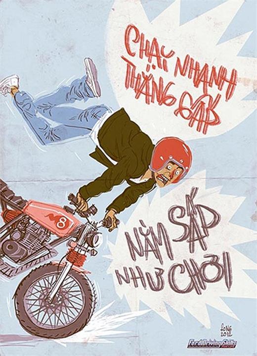 Tranh biếm họa về văn hoa giao thông của họa sĩ Thành Phong. (Ảnh minh họa)