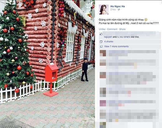 Trước đó, Hồ Ngọc Hà cũng chia sẻ một hình ảnh bé Subeo đứng tạo dáng chụp ảnh. 'Giáng sinh năm nào mình cũng có nhau. Mai lại lên đường đi Mỹ... Noel 2 nơi có vui ko???'.