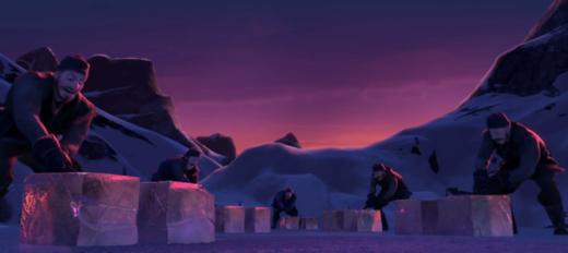 Cảnh khai thác băng đá ở đầu bộ phim.