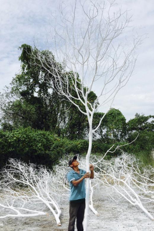 Cây xanh được phủ sơn trắng để dựng hình ảnh khu rừng mùa đông trong tiệc cưới. - Tin sao Viet - Tin tuc sao Viet - Scandal sao Viet - Tin tuc cua Sao - Tin cua Sao