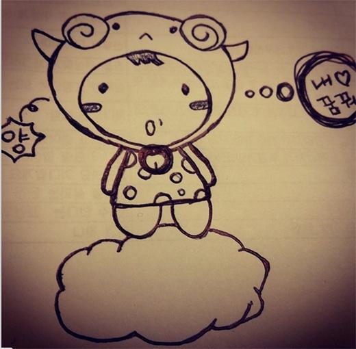 Jaejoong vẽ hình ảnh siêu dễ thương với thông điệp chúc các fan ngủ ngon
