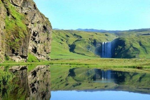 Thác Skougafoss ở Iceland