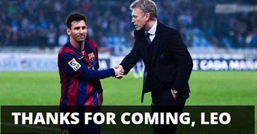 HLV David Moyes bắt tay cảm ơn Messi vì góp mặt trong trận đấu. Sự góp mặt của siêu sao người Argentina khiến chiến thắng của Sociedad càng thêm ý nghĩa.