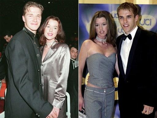 Becks và Julie Killilea, người sau này trở thành vợ của Phil Neville (phải), tay trong tay tới một buổi xem phim năm 1996, một năm trước khi gặp và yêu Vic. (Ảnh: Internet)