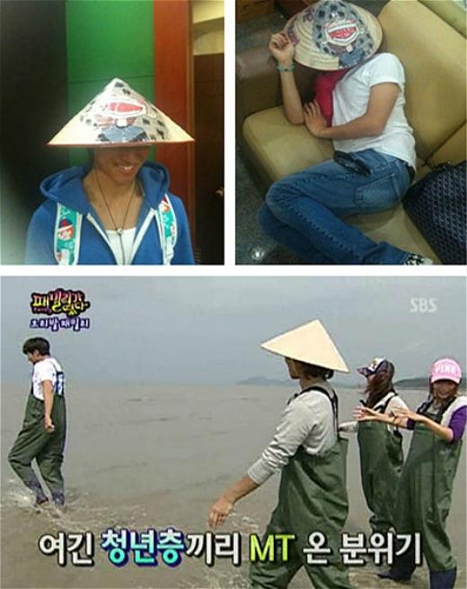 Một thành viên khác của Big Bang, Dae Sung cười tít mắt khi đội nón lá của VIP Việt gửi tặng. Ngay cả khi trở về Hàn Quốc, lúc ngủ cũng như làm show truyền hình thực tế anh chàng vẫn đội nón đầy thích thú.