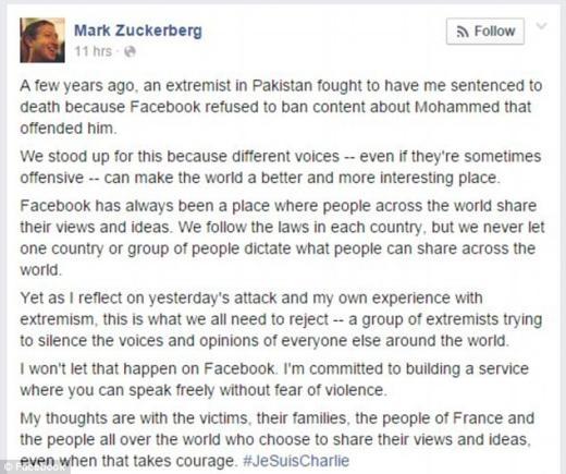Dòng trạng thái của Mark Zuckerberg