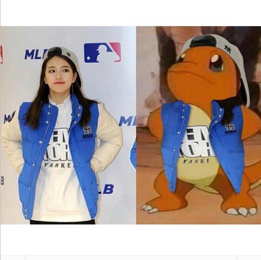 Suzy thích thú khi đăng tải hình ảnh cô chụp trong sự kiện và một hình hoạt hình có mặc chiếc áo khoác giống cô khiến fan thích thú.