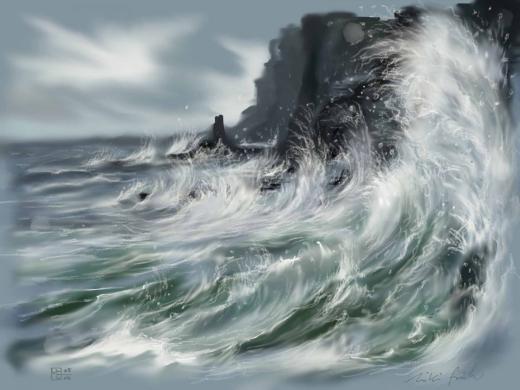 Nghệ sĩ Miki Frueh chỉ dùng ngón tay để tán và cọ nhỏ để tạo ra ảo ảnh của sóng.