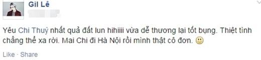 Mới đây, Gil Lê đã cập nhật trạng thái mới nhất của mình thừa nhận 'yêu' cô bạn thân Chi Pu. Gil Lê và Chi Pu cũng đã từng vướng vào nghi án tình yêu đồng giới nhưng cả hai đều khẳng định chắc nịch rằng mình chỉ là đôi bạn thân. Ngay sau khi mới đăng tải, Gil Lê nhận được rất nhiều lời bình luận cho rằng đây chỉ là do Chi Pu tự mình đăng tải thông qua trang cá nhân của Gil Lê.
