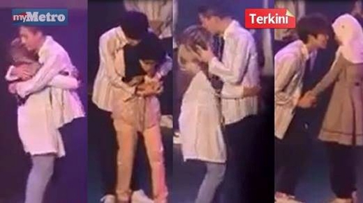 Hình ảnh các thành viên B1A4 có hành động thân mật với fan nữ người Hồi giáo