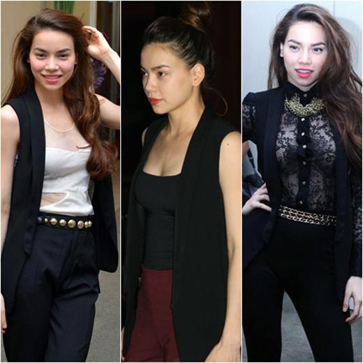 Chiếc áo blazer đen được Hà Hồ phối loại với nhiều loại trang phục khác nhau.