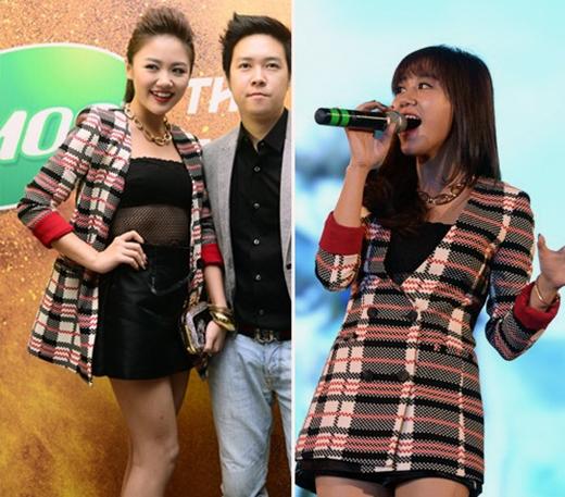 Cũng với chiếc áo khoác kẻ sọc nhưng Văn Mai Hương đã khéo léo tạo nên sự khác biệt trong 2 sự kiện khác nhau mà cô tham gia.