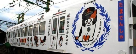 Một đoàn tàu rất dễ thương với đầy hình của chú mèo, vànhân vật chỉ huy trưởng của đoàn tàu đầy mèo phía trên là chú mèo Tama này đây.