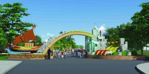 """Với chủ đề """"Xuân Đồng Nai 2015"""", đường hoa Trấn Biên năm nay được thiết kế với hình ảnh vùng đất con người Đồng Nai trong lao động, sản xuất và chiến đấu, gắn với những sự kiện văn hóa, lịch sử, xã hội của Biên Hòa - Đồng Nai với trên 300 năm hình thành phát triển."""