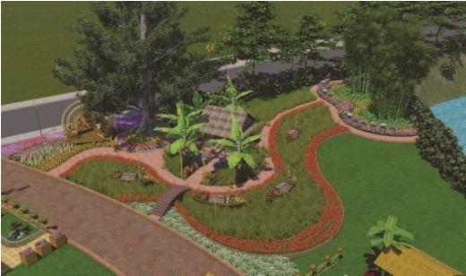 Không gian đường hoa bố trí trong khuôn viên theo trục đường chính và đường vòng quanh hồ phía trước và trong Văn miếu Trấn Biên với nhiều mô hình, tiểu cảnh được trang trí cách điệu phong phú.