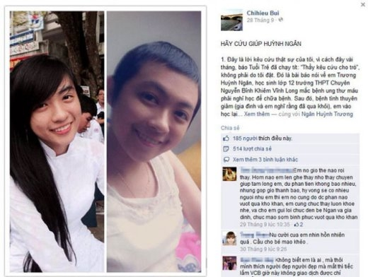 Hình ảnh Ngân và lời kêu cứu trên Facebook của thầy Bùi Chí Hiếu - Ảnh chụp từ Facebook