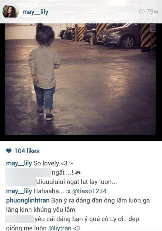 """Và trong hình ảnh gần nhất, một người thân của Phương Ly đã khen: """"Xinh giống mẹ"""", tag Phương Ly và bình luận của mình."""