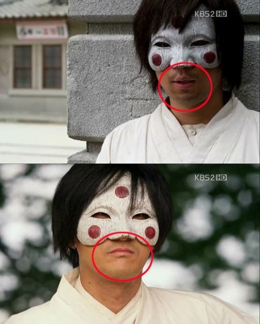 TrongBridal Mask, người anh hùng mặt nạ doShin Hyun Junthủ vai dường như có khả năng cạo râu khá điêu luyện, bộ râu của anh nhanh chóng biến mất chỉ sau một lần chuyển cảnh. Thậm chí còn có vẻ như là hai người khác nhau.
