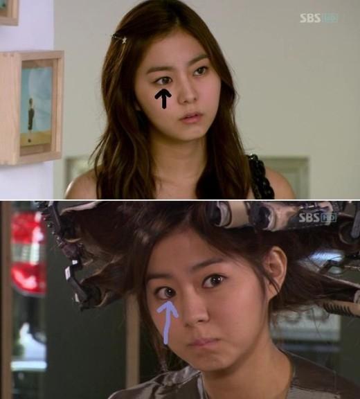UEEtrở nên khác thường với chiếc kính áp tròng bị đặt lệch vị trí trongYou're Beautifulkhiến gương mặt phản diện của cô nàng trông khá hài hước.