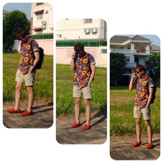 Trịnh Thăng Bình diện style khá năng động với đôi giày màu cam là điểm nhấn cho bộ trang phục, anh chia sẻ: 'Dù mệt nhưng vẫn phải tươi'.