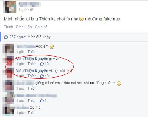 Mặc dù đã xác nhận Viễn Thiện không dùng facebook, thế nhưng vẫn có rất nhiều tài khoản được lập ra để giả mạo danh tính của cậu bạn này.