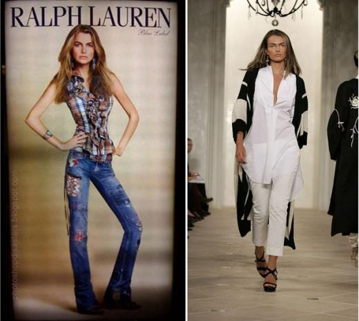 """Ảnh số hóa quảng cáo của Raph Lauren bày ở trung tâm mua sắm ở Nhật trong đó có hình người mẫu Filippa Hamilton đang diễn trên sàn catwalk ở New York năm 2006. Cựu người mẫu của Ralph Lauren, Filippa khẳng định công ty đã không kí lại hợp đồng vì cho rằng cô """"quá khổ"""". Raph Lauren phủ nhận lời khẳng định này."""