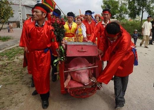 Hai 'Ông Ỉn' được diễu hành vòng quanh làng trước khi nghi lễ chính thức được diễn ra.