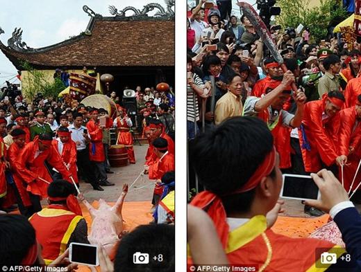 Những hình ảnh về lễ hội chém lợn ở Bắc Ninh trên trang AFP