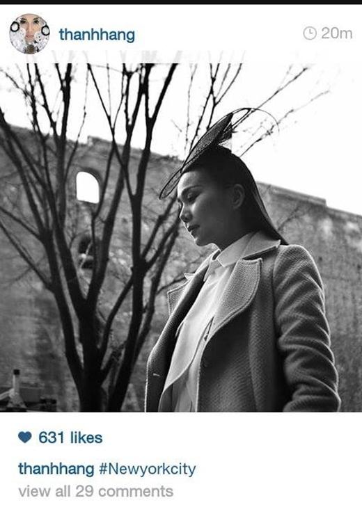 Thanh Hằng vừa đăng tải một ức ảnh khá nghệ thuật trên trang cá nhân và cho biết bức ảnh được chụp tại New York. Vẫn với gout thời trang thời thượng và sang trọng của mình, Thanh Hằng luôn là niềm tự hào trong giới người mẫu của showbiz Việt.