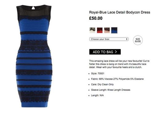 HÌnh ảnh chiếc đầm được đăng tải trên web bán hàng với giá 50 bảng Anh.
