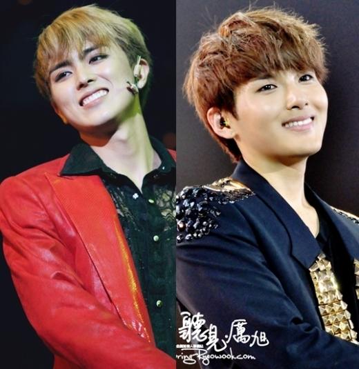 Heechul (ZE:A)mỗi khi cười lại cực giống đàn anhRyeowook (Super Junior)nhờ vào khuôn miệng cùng hình dạng.