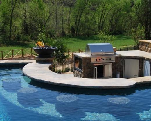 Hồ bơi có dụng cụ nướng BBQ ngoài trời
