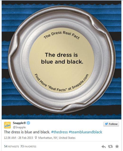 Nước uống Snapple in 'sự thật' về chiếc váy dưới đáy lon của hãng