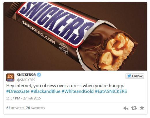 Snickers: 'Internet đang bị ám ảnh bởi một chiếc váy trong khi bạn thì đang đói.'
