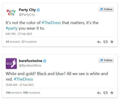 Party City: 'Màu váy không quan trọng, quan trọng là bữa tiệc mà bạn mặc nó.' Duracell: 'Rõ ràng nó màu đồng và đen.'
