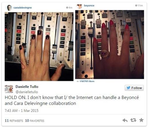 """Tài khoản Danielle Tullo cho biết: """"Khoan đã. Tôi không biết được rằng tôi/hoặc cộng đồng mạng có thể chịu được sự kết hợp của Beyoncé và Cara Delevingne không nữa""""."""
