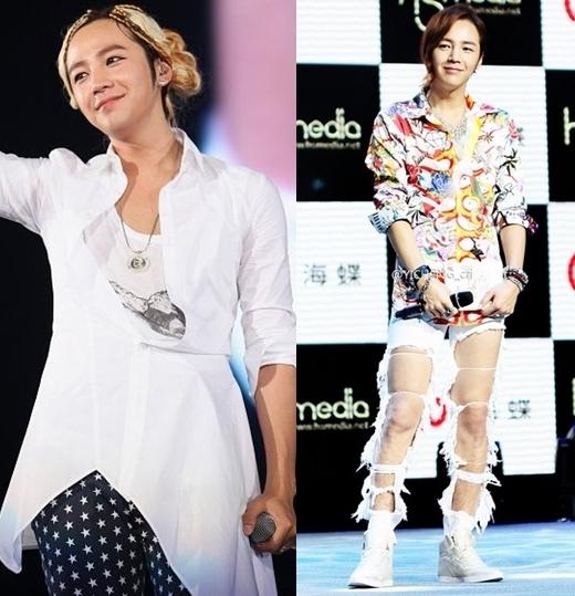 """Thời trang unisex của Jang Geun Suk luôn gây chú ý vì nhiều nét độc đáo và cá tính. Tuy nhiên, không ít lần nam diễn viên Love Rain khiến mọi người hoang mang với trang phục """"không thể hiểu nổi"""" của anh chàng."""