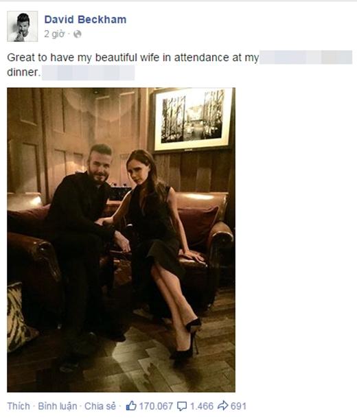 Cùng lúc đó, danh thủ David Beckham cũng vừa chia sẻ bức ảnh bên vợ Victoria kèm theo lời nhắn sẽ tham dự bữa tối trong sự kiện mang thương hiệu riêng của anh. Rất có thể, Hà Hồ và Tóc Tiên sẽ gặp được cặp đôi danh tiếng này cùng một lúc.