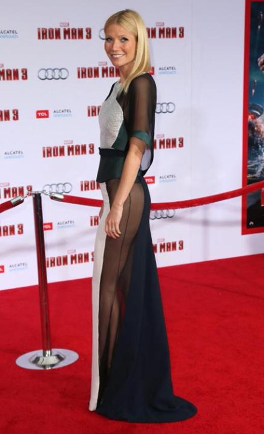 Nữ diễn viênGwyneth Paltrowđã gây một cú sốc cho giới thời trang với bộ trang phục của mình khi đến tham dự buổi công chiếu bộ phimIron man 3tại Hollywood vào tháng 4 năm 2013.