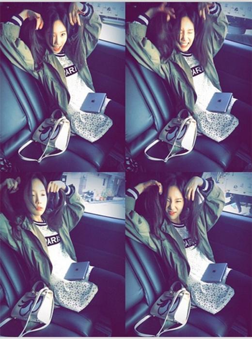 Taeyeon đăng tải hình nhiều biểu cảm trong xe hơi và chia sẻ niềm vui sắp đến ngày sinh nhật: 'Tới rồi. Sắp 27 tuổi rồi. Mạnh mẽ lên'.