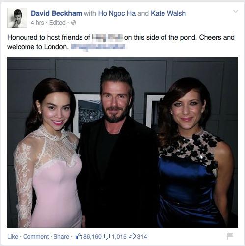 David Beckham khoe ảnh chụp cùng Hồ Ngọc Hà và nữ diễn viên Kate Walsh. - Tin sao Viet - Tin tuc sao Viet - Scandal sao Viet - Tin tuc cua Sao - Tin cua Sao
