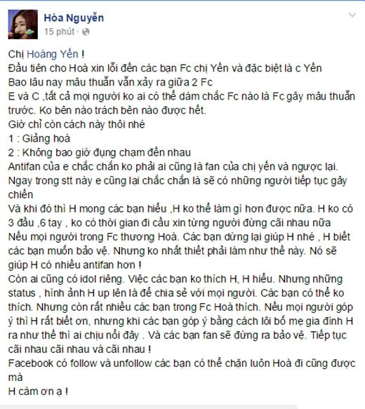 'Tâm thư' Hòa Minzy gửi đến Hoàng Yến cũng như fan và antifan.