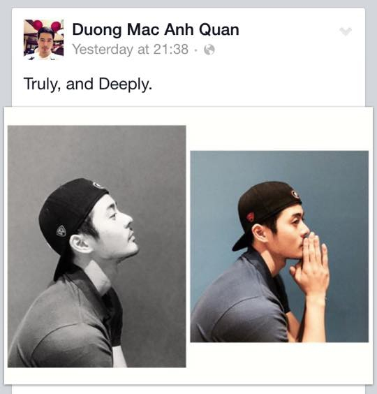 Anh chàng người mẫu Dương Mạc Anh Quân lại trở nên vô cùng 'suy tư' với dòng tâm trạng: 'chân thật và sâu đậm' . Phải chăng anh chàng muốn bày tỏ tình cảm tới người yêu trong ngày 8/3 sắp tới?