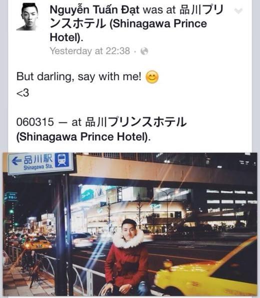 Có vẻ như cô nàng người yêu của hotboy dancesport Tuấn Đạt sẽ phải một mình trong ngày lễ 8/3 sắp tới, vì anh chàng đang vi vu du lịch ở Nhật Bản. Không biết Tuấn Đạt sẽ mang món quà đặc biệt gì về tặng cho người ấy nhỉ?