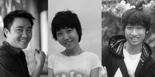 Nhóm tác giả sáng tạo nên 'Lê Bích bụng phệ' gồm: Lê Sơn Tùng, Đinh Phương Linh và Trần Tuấn Linh (từ trái qua).