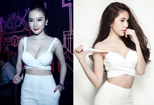 Angela Phương Trinh là người đẹp thường xuyên có những pha đụng hàng với các mỹ nhân khác. Cả Angela Phương Trinh lẫn Thủy Tiên đều vô cùng quyến rũ với áo croptop trắng.