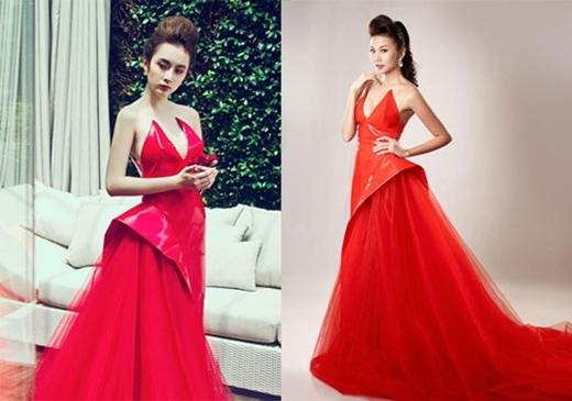 Cô đã làm dấy nên khá nhiều tranh cãi giữa khi cùng mặc một mẫu đầm đỏ khá độc đáo với Thanh Hằng.
