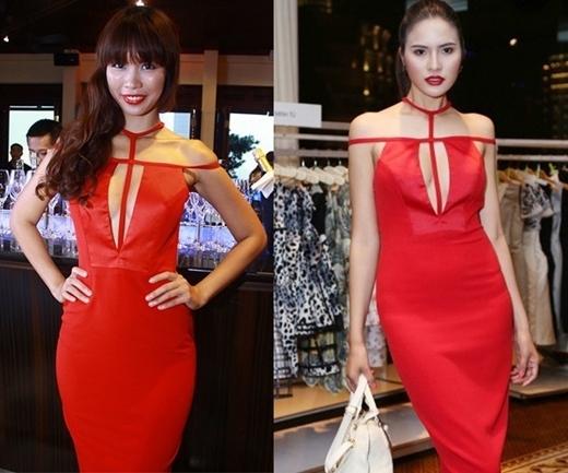 Hà Anh, Lê Phương diện mẫu váy khá lạ mắt. Cùng là người mẫu nên vẻ đẹp của hai người đẹp là một chín, một mười.