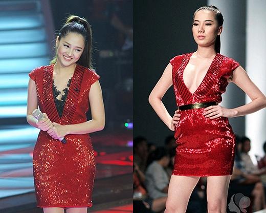 Cùng mặt một chiếc váy màu đỏ láp lánh, nếu Bảo Anh toát lên vẻ trong sáng, nữ tính thì người mẫu Chung Thục Quyên lại hút mọi ánh nhìn với vòng một nóng bỏng.